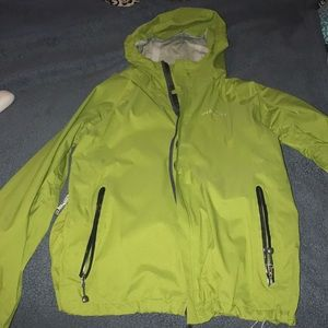Green wind breaker, all weather condition jacket